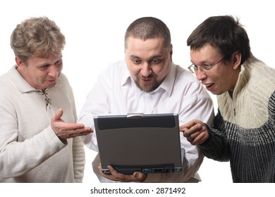 Three men with notebook looking at screen with surprise, isolated on white background