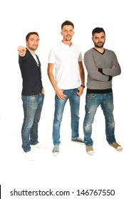 Three men standing in a row and one of them pointing to you isolated on white background