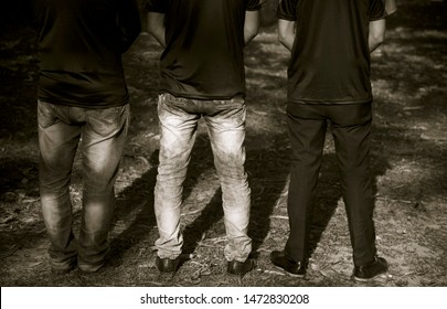 Three men standing together unique photo