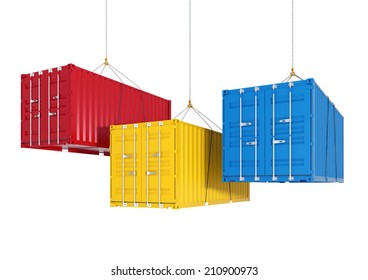 Three metal freight shipping containers on the hooks at white background - photorealistic 3d perspective render witch cutting path
