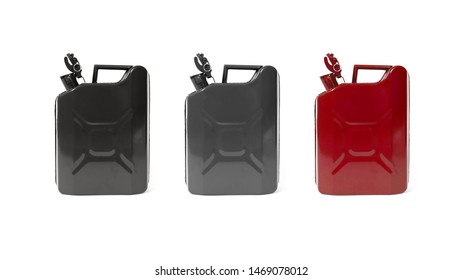 Three Metal Fuel Container Jerrycans. Black grey and red Canister for Gasoline, Diesel Gas. Fire Resistant Storage Tank