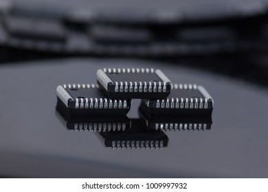 Three microchips on the black background