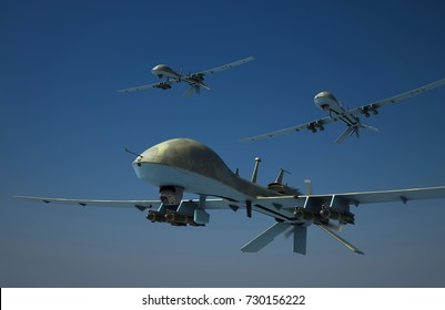 Three military surveillance drones armed with hellfire missiles. Yellow camouflage. 3d render.