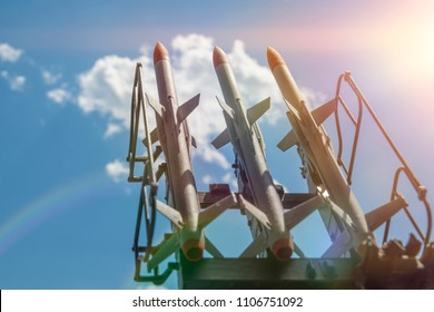 three missiles on the installation are aimed upwards. weapons of mass destruction, missile defense. Nuclear warhead, chemical bomb.