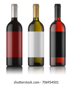 Three mockups of wine bottles with labels. White, rose and red wine. White background. 3d image.