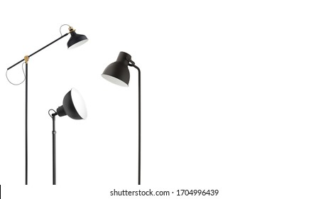 Three modern black metallic floor lamps on white background