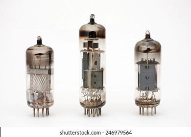 three modern electronic tubes, vacuum tubes