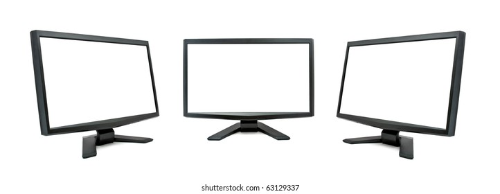 Three modern monitor isolated on white.