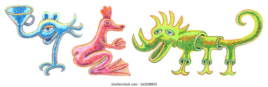 Three monsters (1-3) - cartoon illustration with a crayon
