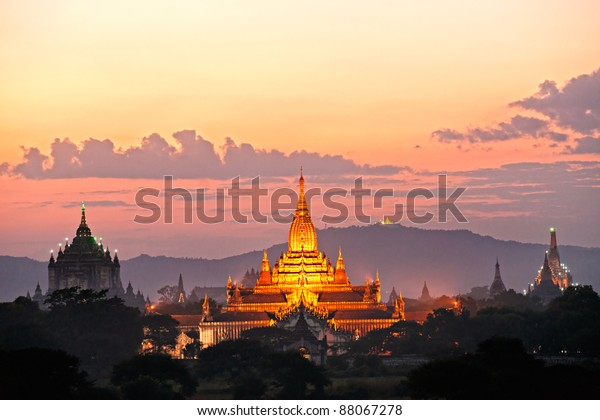 Three of the most beautiful temple of bagan after sunset, The Ananda Pahto, The Gawdawpalin Pahto and the ThatbyinnyuPlain of Bagan, Myanmar.