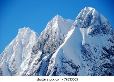 three mountain peaks