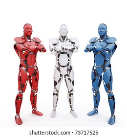 Three multicolored robots on the white background
