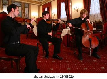 Three musicians in restaurant