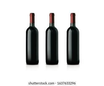 Three naked bottles of wine