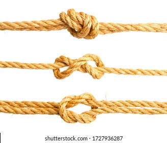 three nautical knots made of rough natural rope isolated on white background
