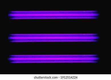three neon light ultraviolet blacklight lamps