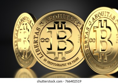 Three new golden virtual coins Bitcoins cash. 3D rendering on black background with golden reflections.