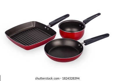 Three new red and black frying pan set isolated on white background