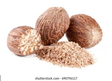 Three nutmeg and powder isolated on white background