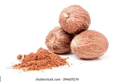 Three nutmeg whole and powder isolated on white background