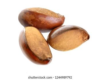Three nuts Vitellaria paradoxa , commonly known as shea tree or shi tree, Karite. Isolated on white background.