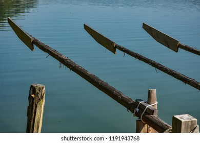 Three oars on a wooden raft (flos) on Drava river, Slovenia
