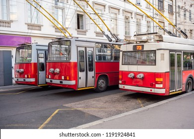 Three old articulated trolleybuses in the center of Budapest, Hungary