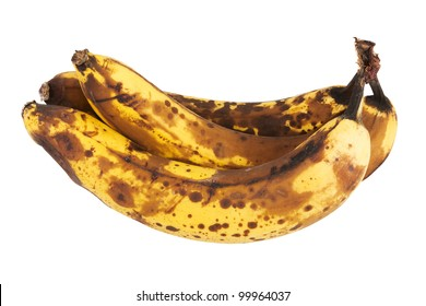 Three old bananas over a white background