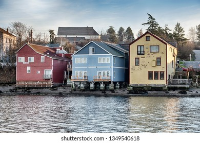 Three old buildings anchor the waterfront strip of downtown Coupeville on Whidbey Island in Washington State.