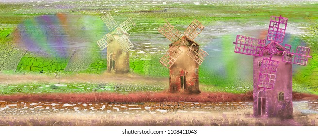 Three old mills in the green field, oil painting artwork