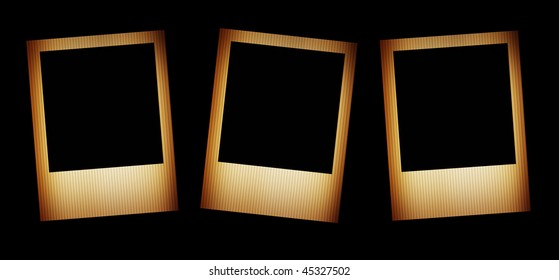 Three old photos over black background. Blank illustration