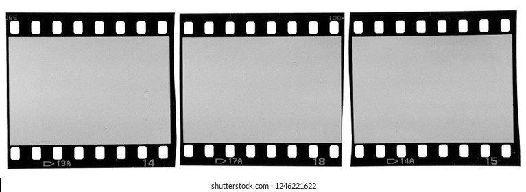 three old scratched and grungy negative filmstrips on white, real analogue scan with authentic film grain, true black and white photo, 35mm film