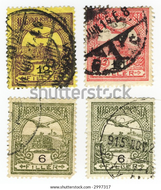 Three old stamps from hungary