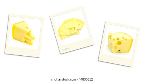 Three old style photos of cheese over white background