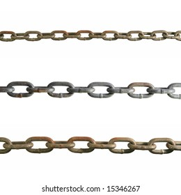 three old worn chain strands isolated on white
