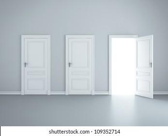 three open doors in room