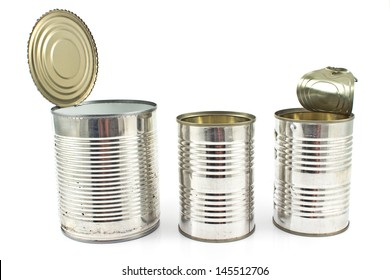 Three open empty tin can isolated on white