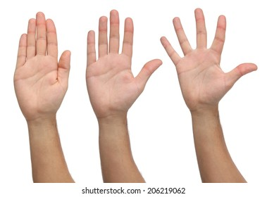 Three open hands on different positions. Isolated on white background