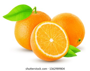 three orange orange and cut isolated on a white background and shadow