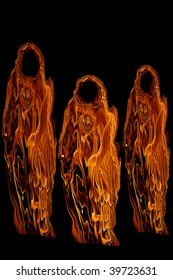Three Orange Halloween Ghosts or Ghouls isolated on a black background.