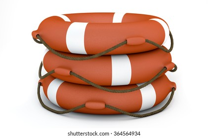 Three Orange Lifebuoy on white background