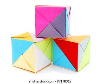three origami blocks