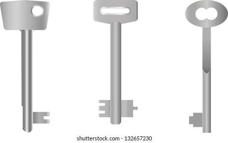 Three original keys of steel color