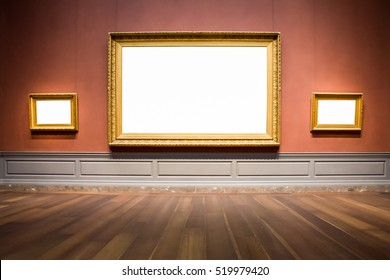 Three Ornate Picture Frames Art Gallery Museum Exhibit Blank White Isolated Clipping Path
