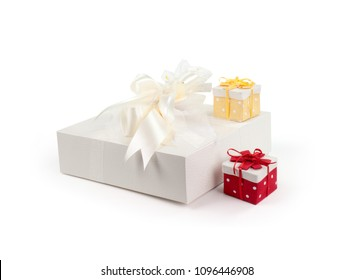 three packages on a white background