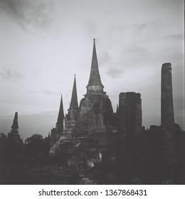 Three pagoda at Phra Si Sanphet temple , Ayutthaya , Thailand. Taken from a Rolleiflex  film camera  (120 Film scan photo )