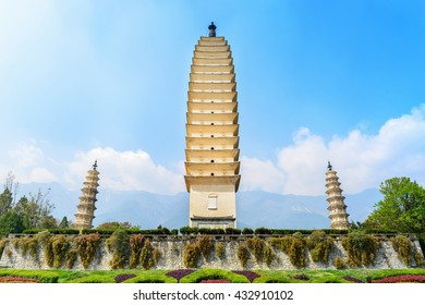 Three Pagodas of Chongsheng Temple, dating from the time of the Kingdom of Nanzhao and Kingdom of Dali in the 9th and 10th centuries. Located near the old town of Dali, Yunnan province, China