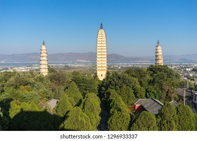 The Three Pagodas of the Chongsheng Temple are an ensemble of three independent pagodas arranged on the corners of an equilateral triangle, near the old town of Dali, Yunnan province, China.