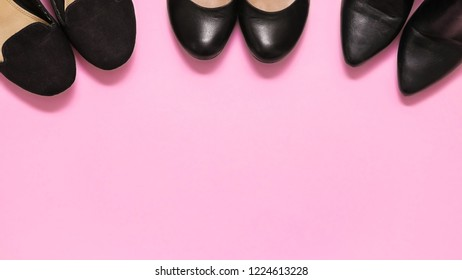 Three pairs of black women's shoes, pumps and high heel shoes for parties, casual and buisness women. Pink background. Blank copy space for own text.