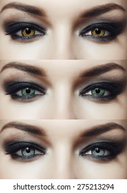 Three pairs of eyes of different colors with beautiful makeup